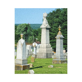 Small Town Cemetary Vintage Family Monuments Canvas Print