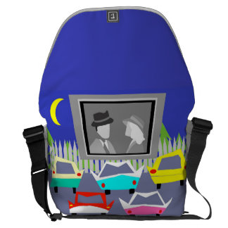 Small Town Drive-In Movie Messenger Bag