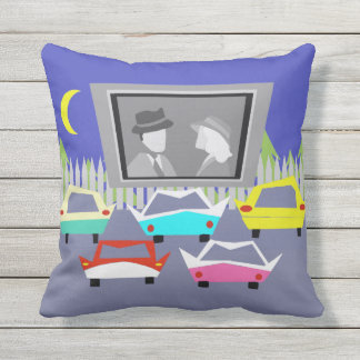 Small Town Drive-In Movie Outdoor Pillow