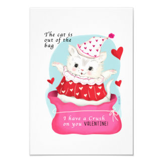 Small traditional Cat Vintage Valentine Card
