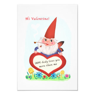 Small traditional Gnome Fairy Vintage Valentine Card