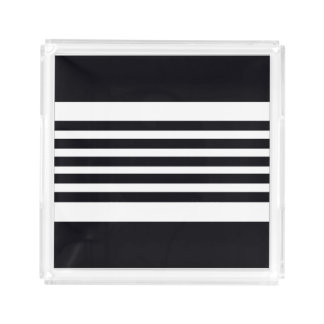 Small Trays Tray Modern Black And White Stripes