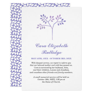 Small Tree Lavender & White Memorial Announcement