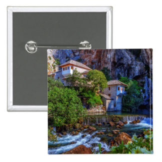 Small village Blagaj on Buna waterfall, Bosnia and 2 Inch Square Button