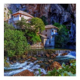 Small village Blagaj on Buna waterfall, Bosnia and Acrylic Wall Art