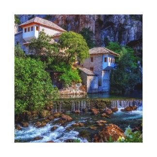 Small village Blagaj on Buna waterfall, Bosnia and Canvas Print