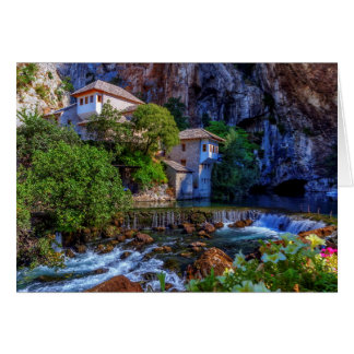 Small village Blagaj on Buna waterfall, Bosnia and Card