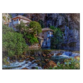 Small village Blagaj on Buna waterfall, Bosnia and Cutting Board