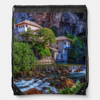 Small village Blagaj on Buna waterfall, Bosnia and Drawstring Bag