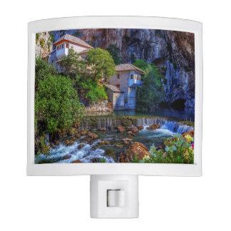 Small village Blagaj on Buna waterfall, Bosnia and Night Light
