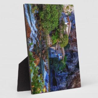 Small village Blagaj on Buna waterfall, Bosnia and Plaque