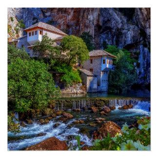 Small village Blagaj on Buna waterfall, Bosnia and Poster