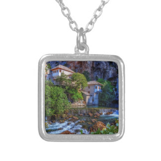 Small village Blagaj on Buna waterfall, Bosnia and Silver Plated Necklace
