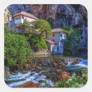 Small village Blagaj on Buna waterfall, Bosnia and Square Sticker