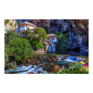Small village Blagaj on Buna waterfall, Bosnia and Stationery