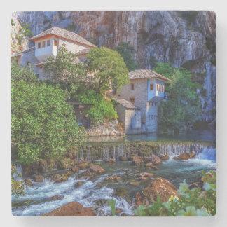 Small village Blagaj on Buna waterfall, Bosnia and Stone Coaster