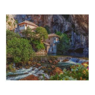 Small village Blagaj on Buna waterfall, Bosnia and Wood Wall Art