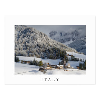 Small village in the snow in 'Italy' postcard