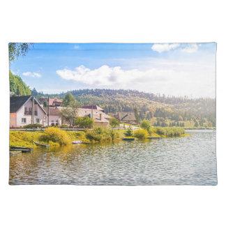 Small village near a lake placemat