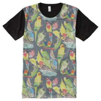 Small Watercolor Parrots All-Over-Print T-Shirt
