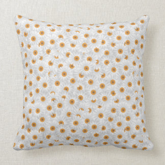 Small White Chamomile Flowers Throw Pillow