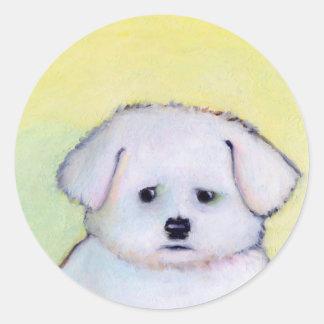 Small white dog art drawing cute Maltese puppy Classic Round Sticker