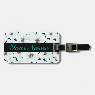 Small white flowers luggage tag