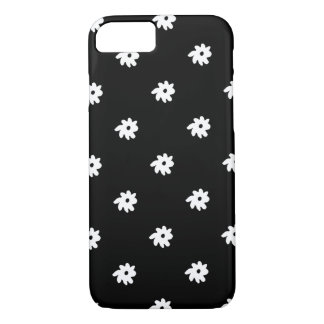 small white flowers on black iPhone 7 case