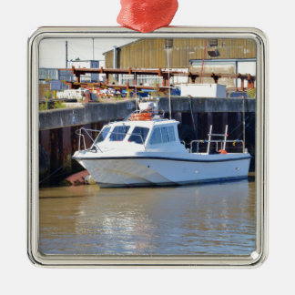 Small White Motorboat Metal Ornament