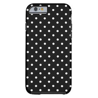 Small White Polka dots black background Tough iPhone 6 Case