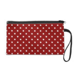 Small White Polka dots cherry red background Wristlet Purse