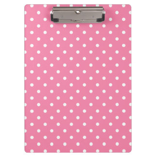 Small White Polka Dots on hot pink Clipboard