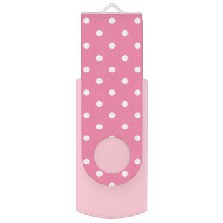 Small White Polka Dots on hot pink Swivel USB 2.0 Flash Drive