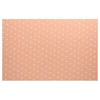 Small White Polka Dots on Peach Toast Fabric