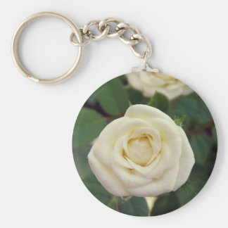 Small White Rose Keychain