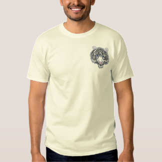 Small White Tiger Head Embroidered T-Shirt
