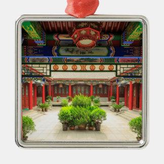 Small Wild Goose Temple, China Silver-Colored Square Ornament