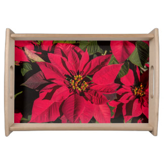 Small Wood Finished Poinsettia Serving Tray