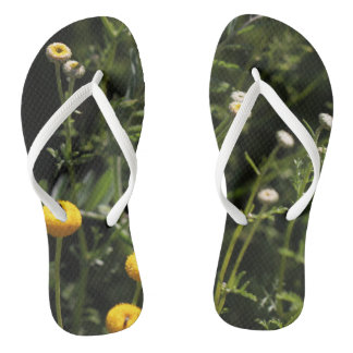 Small yellow and white flowers Flip Flops