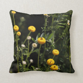 Small yellow and white flowers Throw Pillow