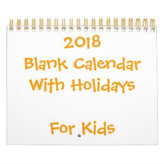 Small Yellow Blank Calendar 2018 For Kids