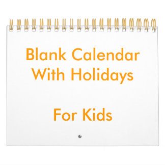 Small Yellow Blank Calendar With Holidays For Kids