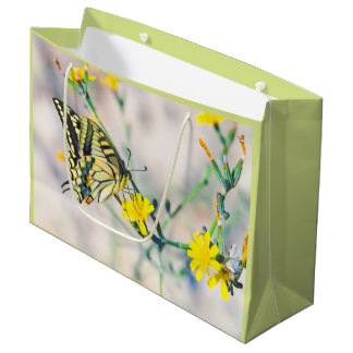 Small Yellow Flowers and Beautiful Butterfly Large Gift Bag