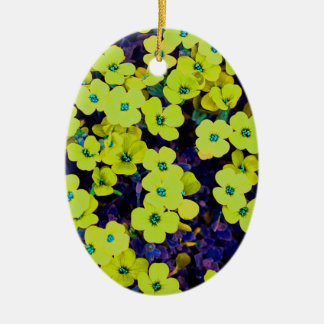 Small Yellow Flowers Ceramic Ornament