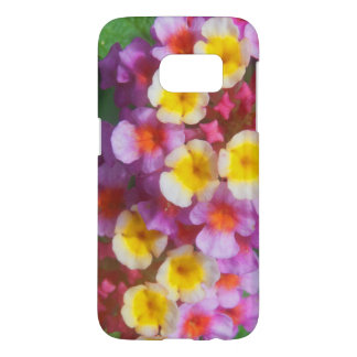 Small Yellow Pink and Purple Tropical Flowers Samsung Galaxy S7 Case