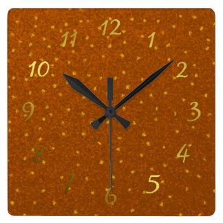 small yellow squares superimposed clock