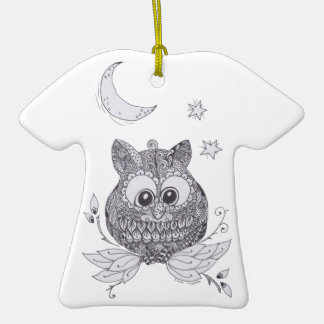 Small zentangle owl with moon christmas tree ornaments