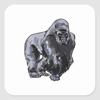 SMALLER SILVERBACK GORILLA SQUARE STICKER