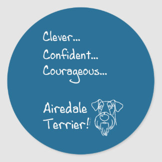 Smart Airedale Terrier Classic Round Sticker