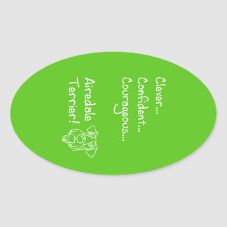Smart Airedale Terrier Oval Sticker